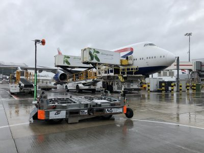 Aurrigo autonomous dolly at London Heathrow Airport